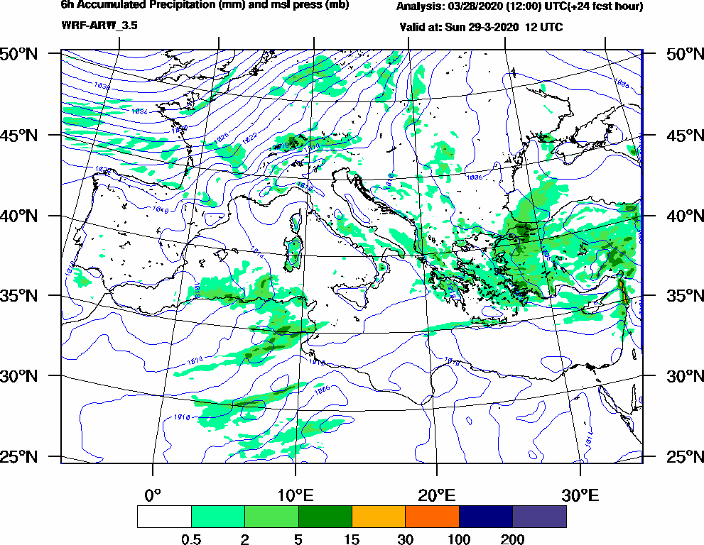 6h Accumulated Precipitation (mm) and msl press (mb) - 2020-03-29 06:00
