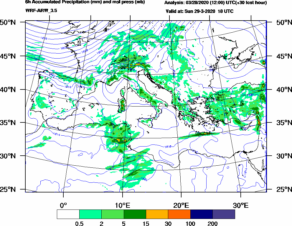 6h Accumulated Precipitation (mm) and msl press (mb) - 2020-03-29 12:00