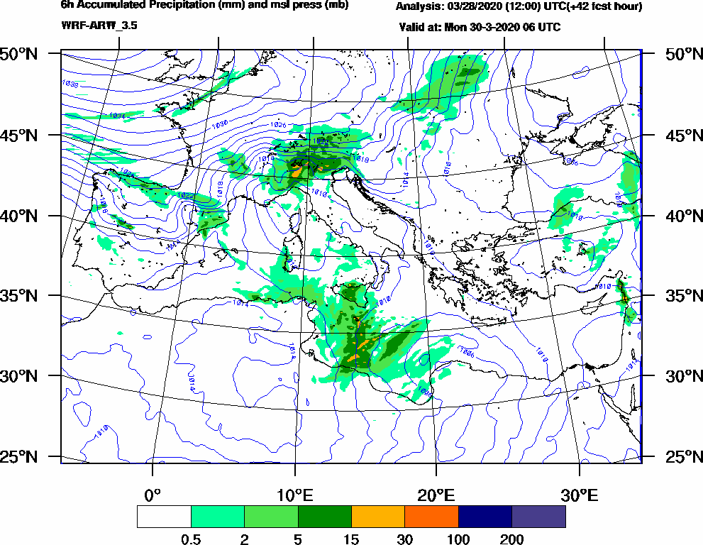 6h Accumulated Precipitation (mm) and msl press (mb) - 2020-03-30 00:00