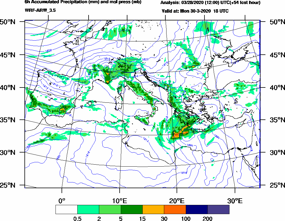 6h Accumulated Precipitation (mm) and msl press (mb) - 2020-03-30 12:00