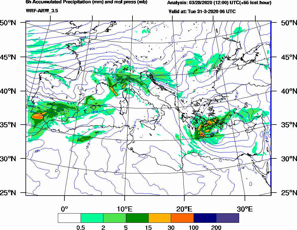 6h Accumulated Precipitation (mm) and msl press (mb) - 2020-03-31 00:00