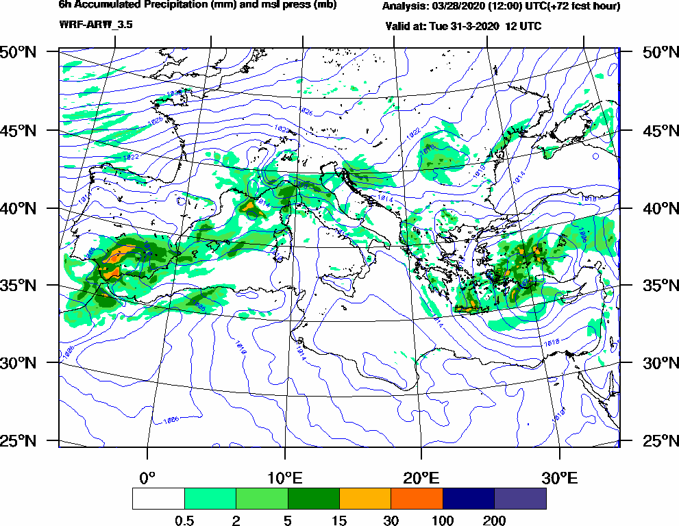 6h Accumulated Precipitation (mm) and msl press (mb) - 2020-03-31 06:00