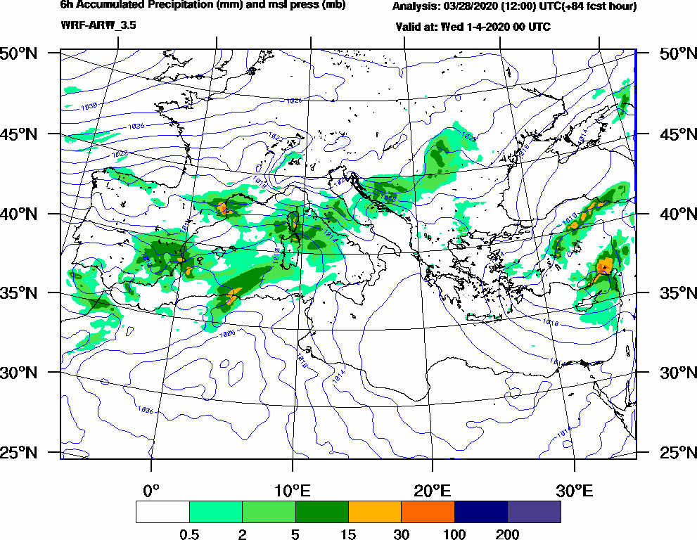 6h Accumulated Precipitation (mm) and msl press (mb) - 2020-03-31 18:00
