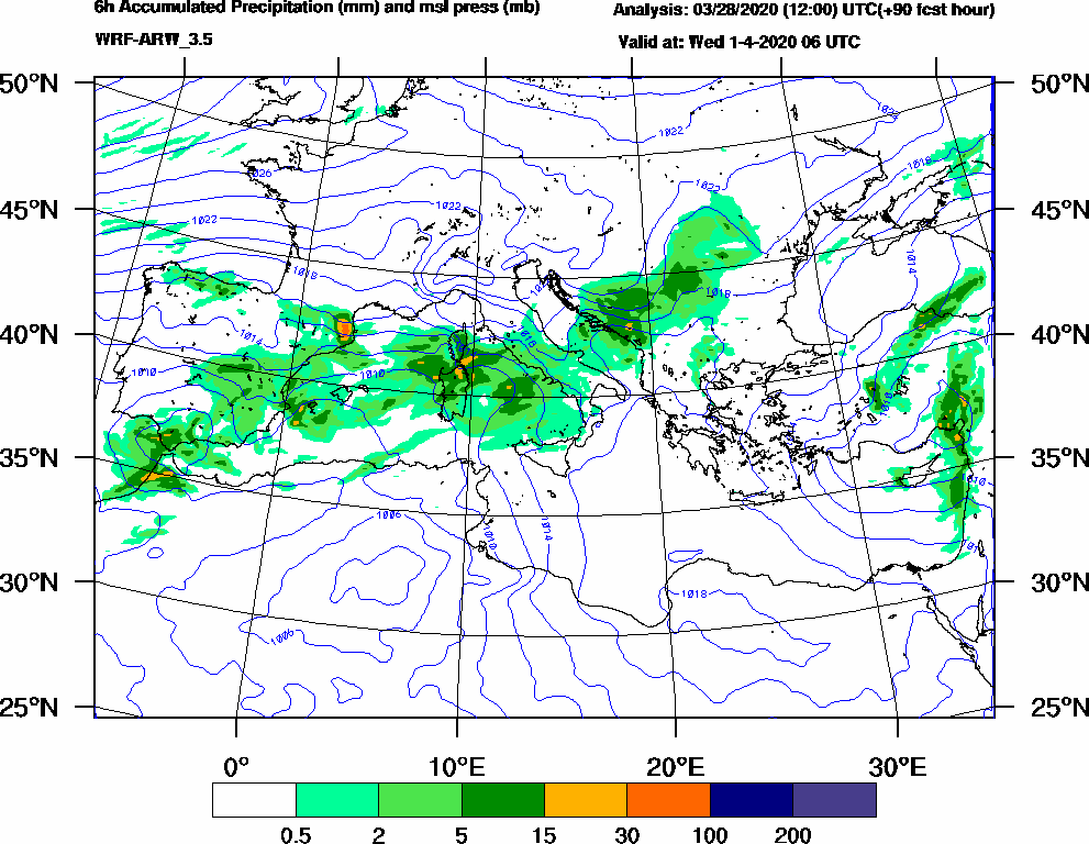 6h Accumulated Precipitation (mm) and msl press (mb) - 2020-04-01 00:00