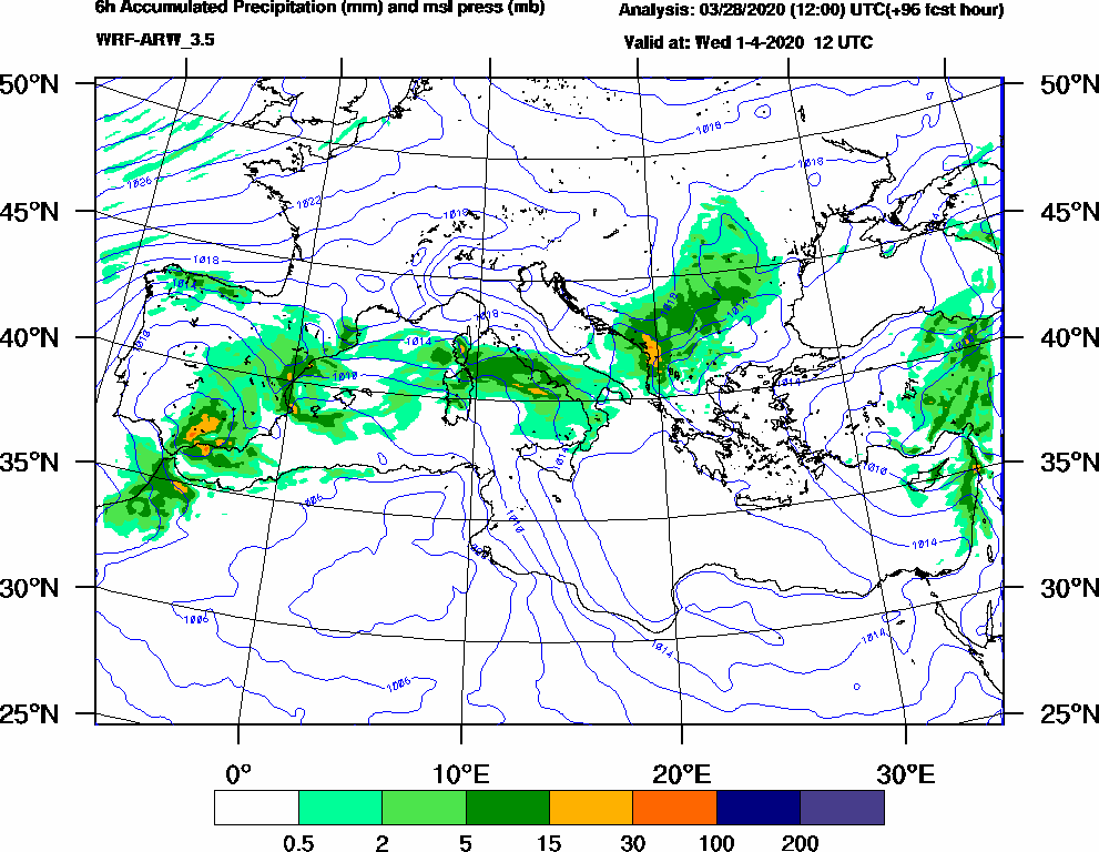 6h Accumulated Precipitation (mm) and msl press (mb) - 2020-04-01 06:00
