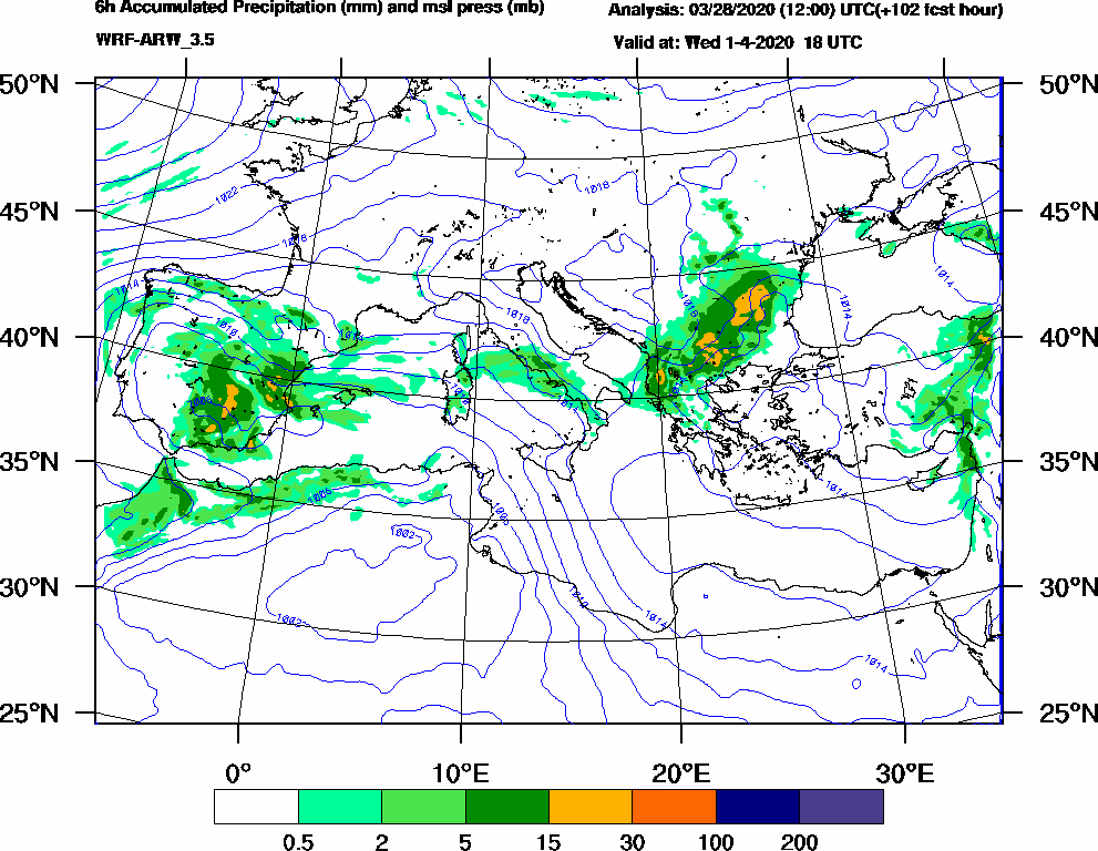 6h Accumulated Precipitation (mm) and msl press (mb) - 2020-04-01 12:00
