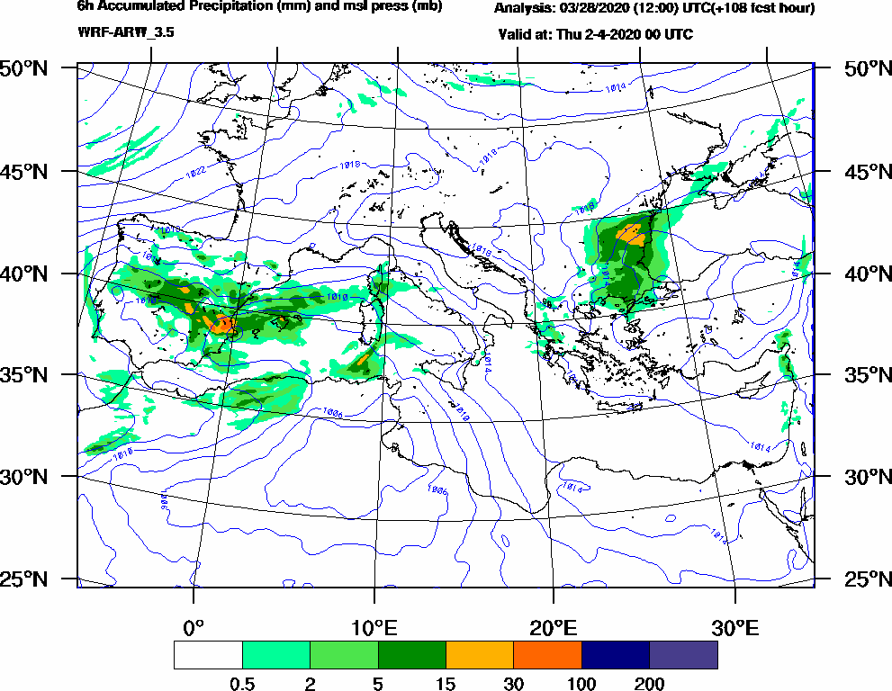 6h Accumulated Precipitation (mm) and msl press (mb) - 2020-04-01 18:00