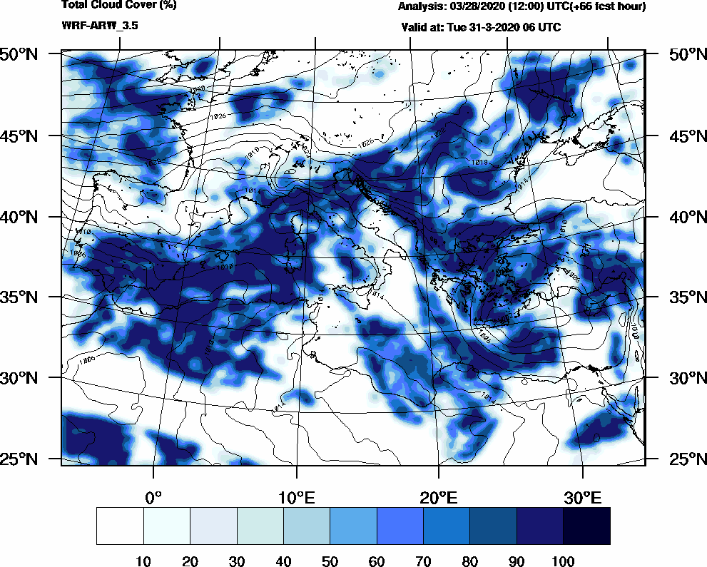 Total cloud cover (%) - 2020-03-31 00:00