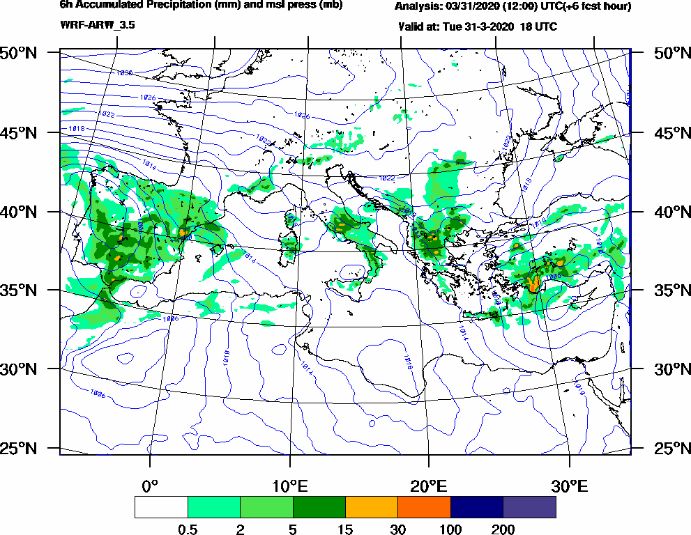 6h Accumulated Precipitation (mm) and msl press (mb) - 2020-03-31 12:00