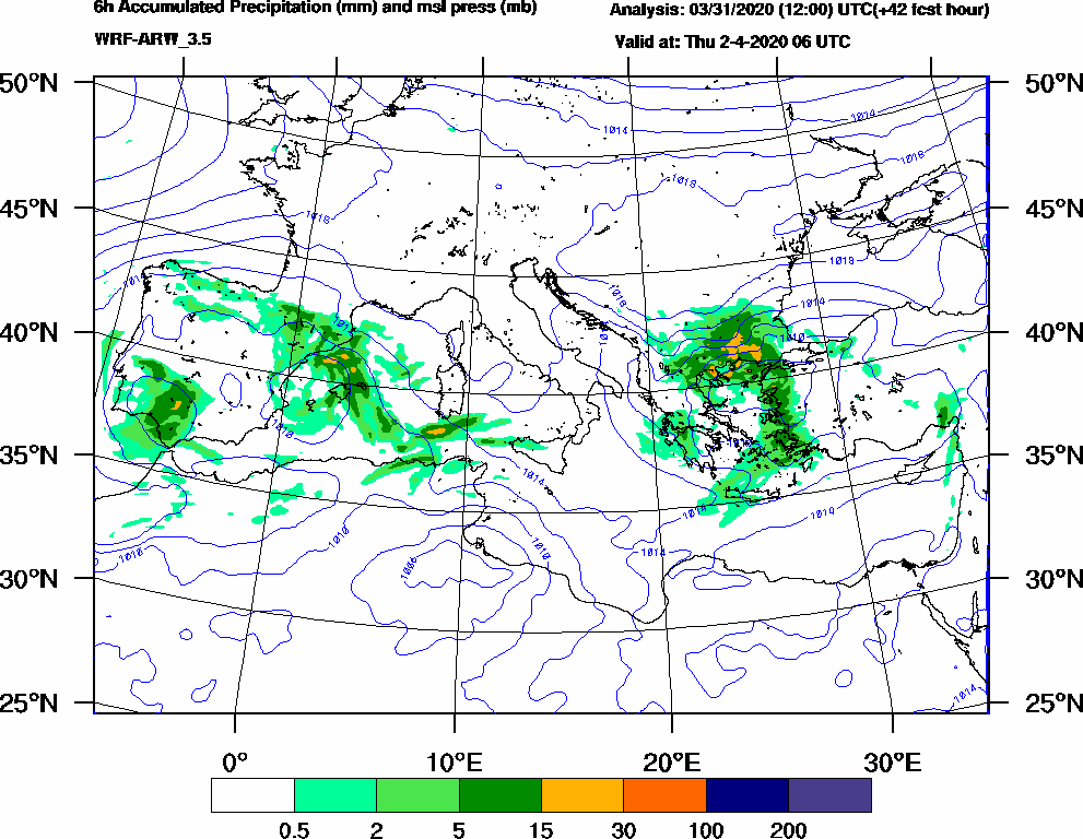 6h Accumulated Precipitation (mm) and msl press (mb) - 2020-04-02 00:00