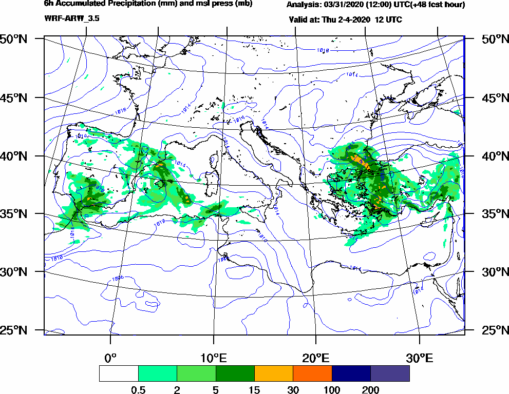 6h Accumulated Precipitation (mm) and msl press (mb) - 2020-04-02 06:00