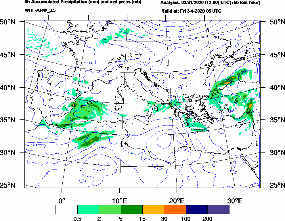 6h Accumulated Precipitation (mm) and msl press (mb) - 2020-04-03 00:00