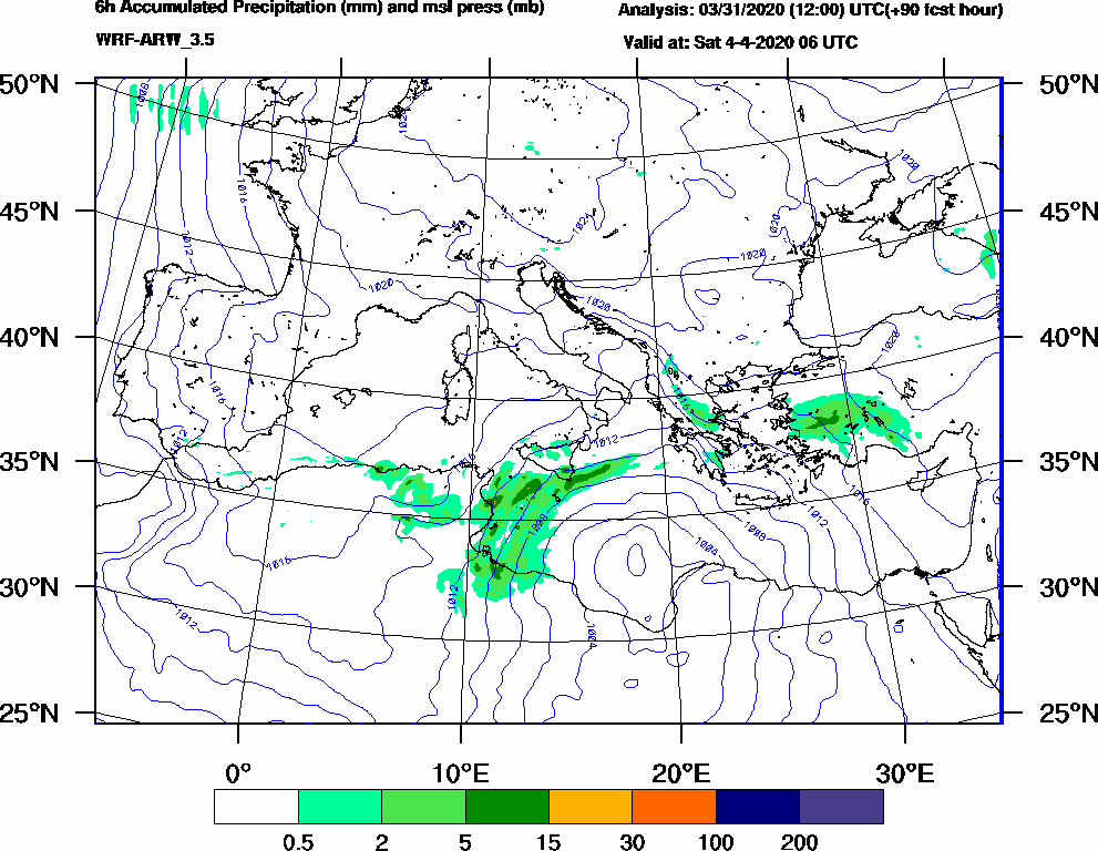 6h Accumulated Precipitation (mm) and msl press (mb) - 2020-04-04 00:00