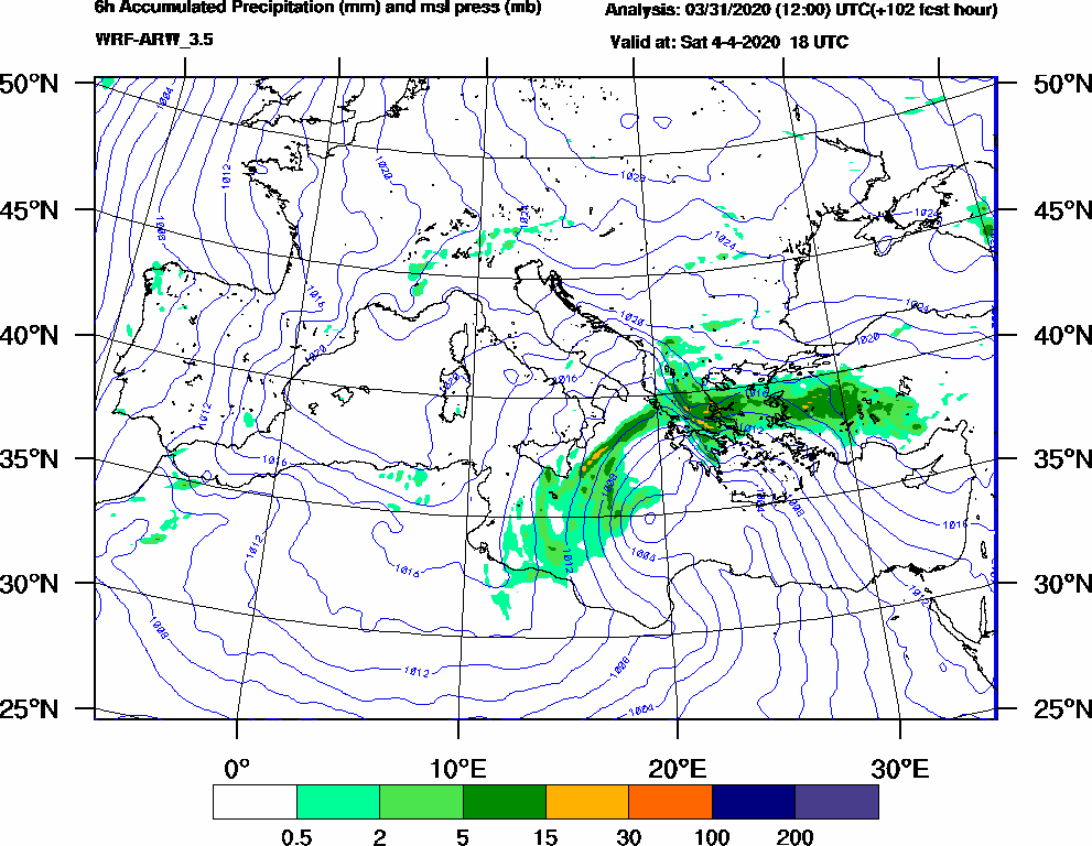 6h Accumulated Precipitation (mm) and msl press (mb) - 2020-04-04 12:00