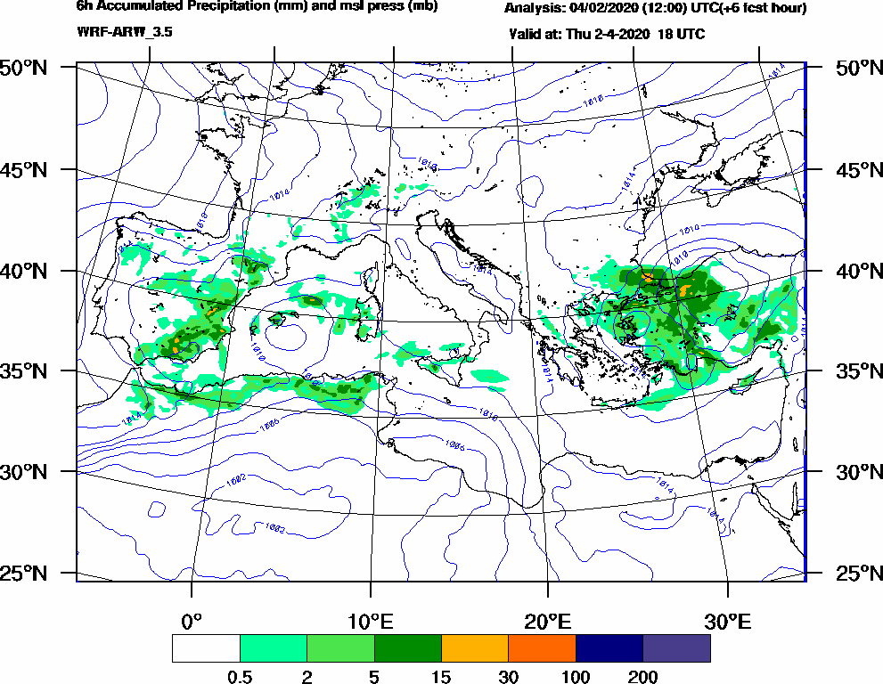 6h Accumulated Precipitation (mm) and msl press (mb) - 2020-04-02 12:00