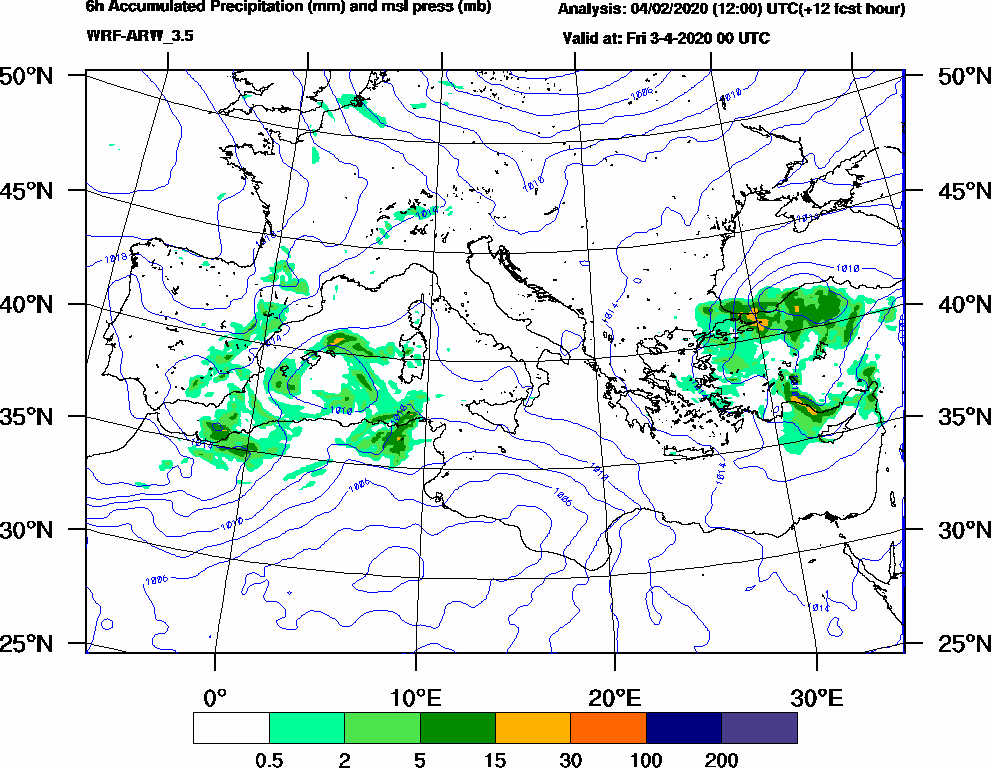 6h Accumulated Precipitation (mm) and msl press (mb) - 2020-04-02 18:00