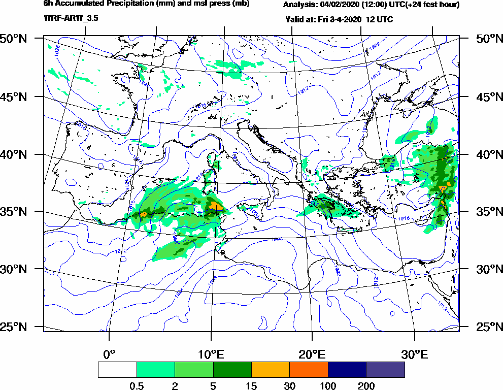 6h Accumulated Precipitation (mm) and msl press (mb) - 2020-04-03 06:00