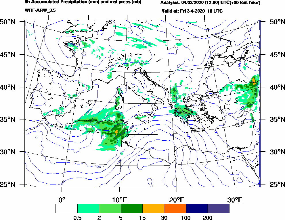 6h Accumulated Precipitation (mm) and msl press (mb) - 2020-04-03 12:00