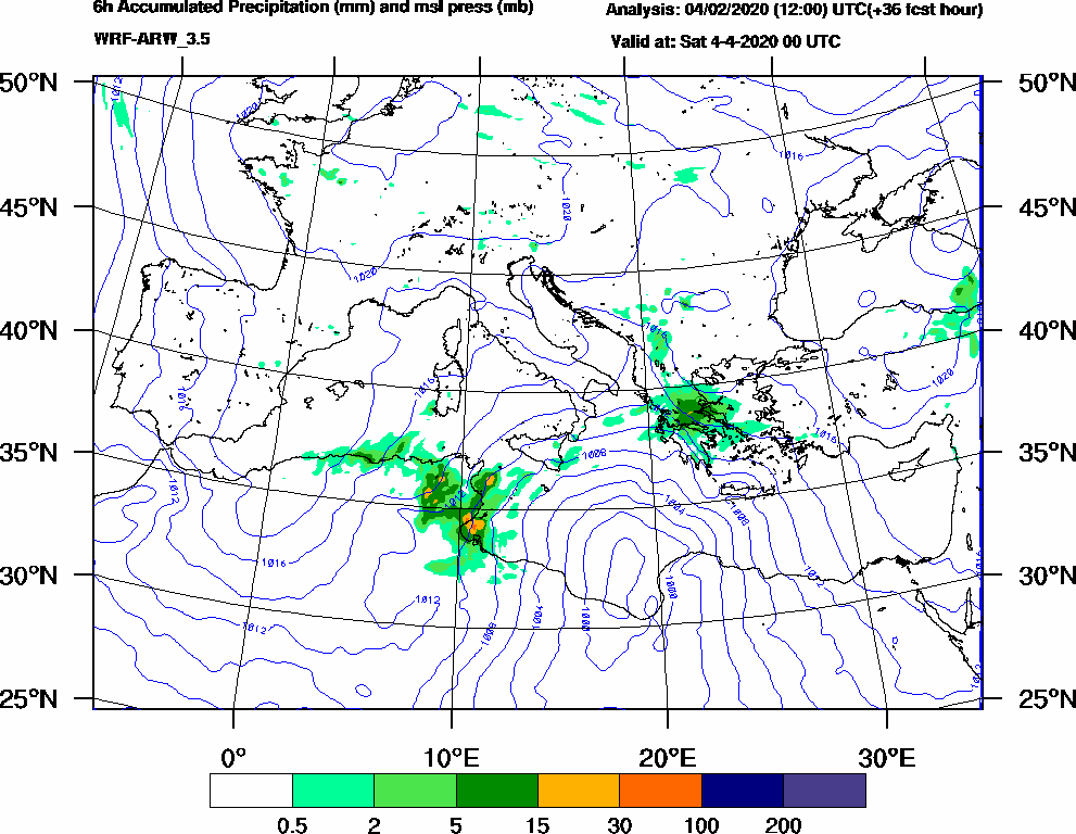 6h Accumulated Precipitation (mm) and msl press (mb) - 2020-04-03 18:00