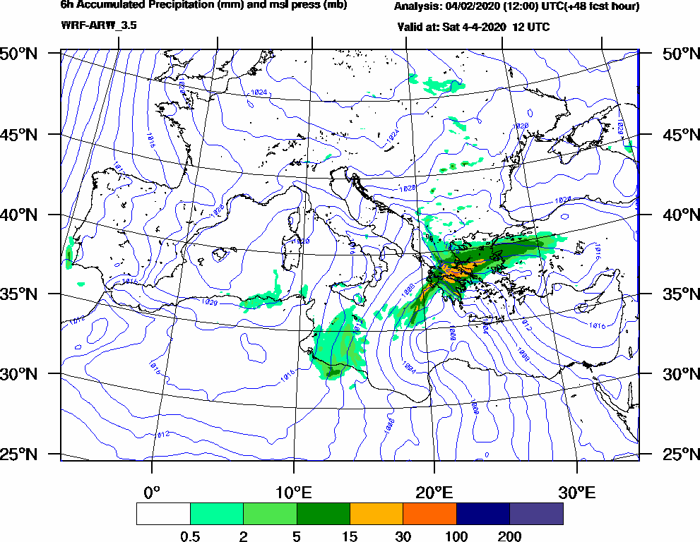 6h Accumulated Precipitation (mm) and msl press (mb) - 2020-04-04 06:00