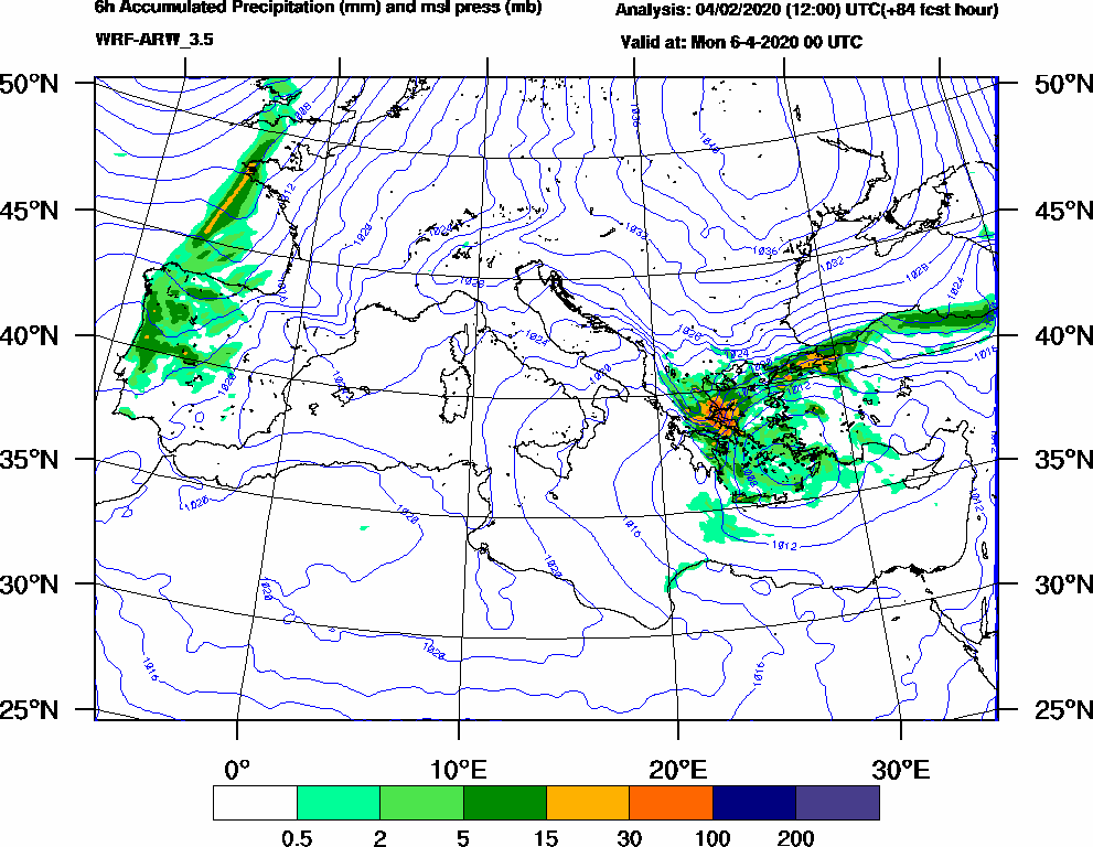 6h Accumulated Precipitation (mm) and msl press (mb) - 2020-04-05 18:00