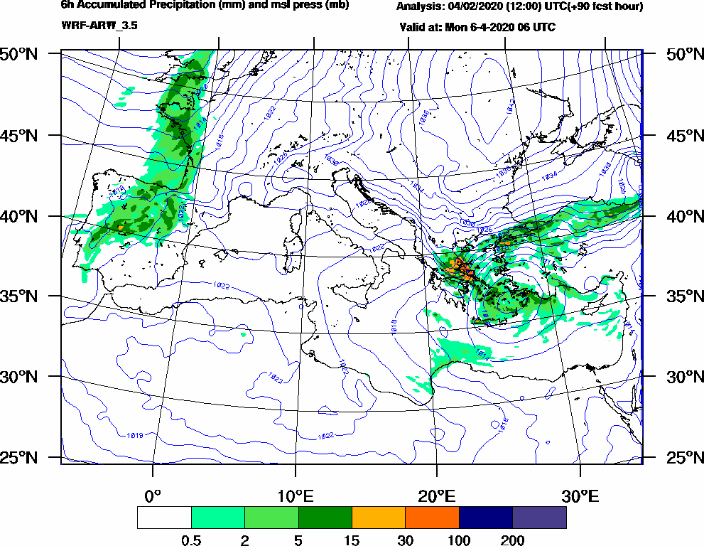 6h Accumulated Precipitation (mm) and msl press (mb) - 2020-04-06 00:00