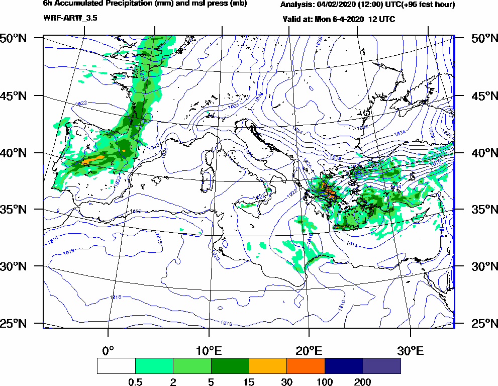 6h Accumulated Precipitation (mm) and msl press (mb) - 2020-04-06 06:00
