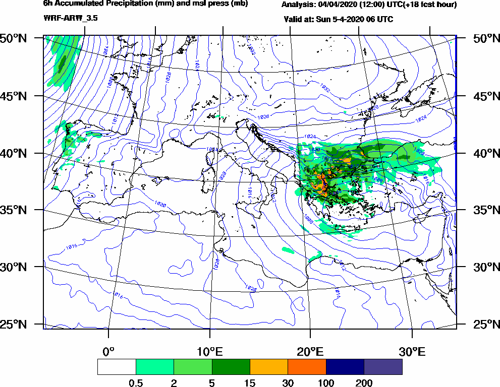 6h Accumulated Precipitation (mm) and msl press (mb) - 2020-04-05 00:00