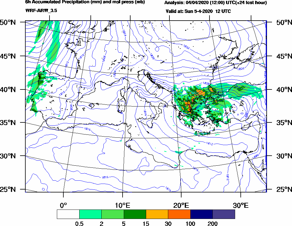 6h Accumulated Precipitation (mm) and msl press (mb) - 2020-04-05 06:00