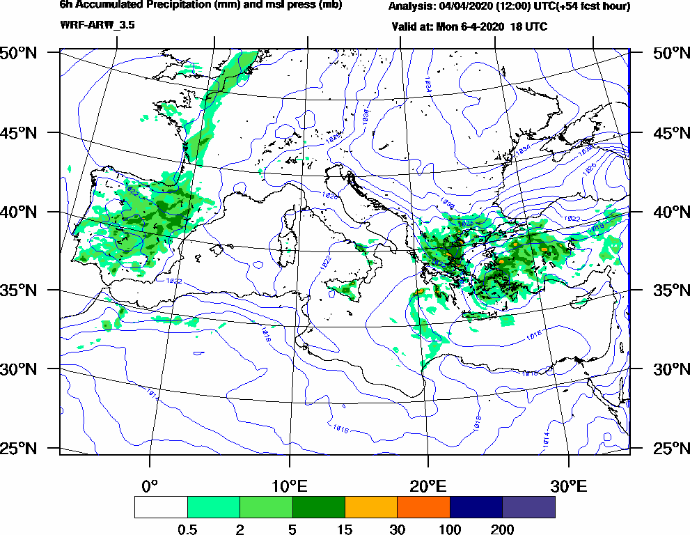 6h Accumulated Precipitation (mm) and msl press (mb) - 2020-04-06 12:00
