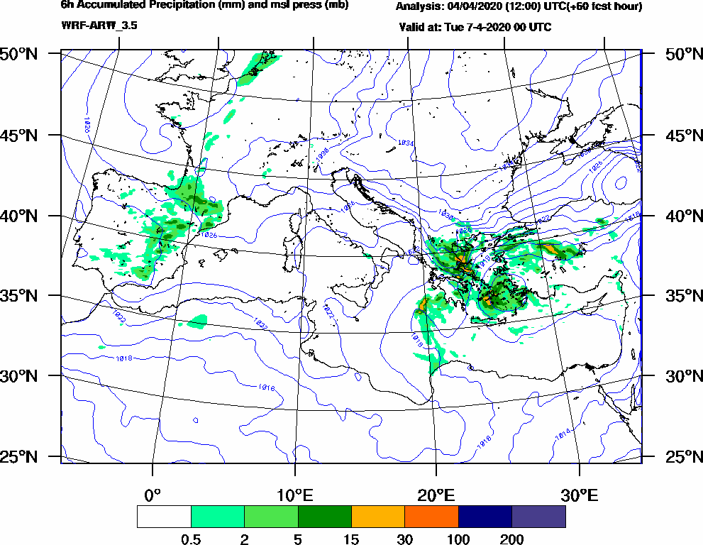 6h Accumulated Precipitation (mm) and msl press (mb) - 2020-04-06 18:00