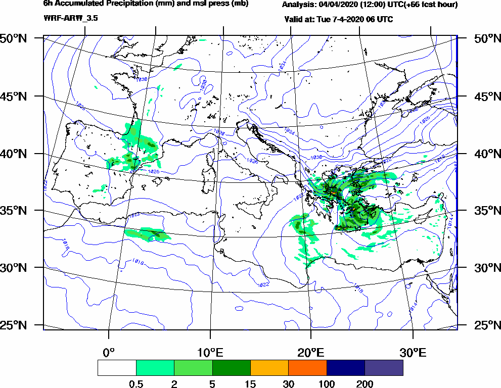 6h Accumulated Precipitation (mm) and msl press (mb) - 2020-04-07 00:00