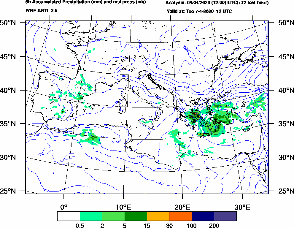 6h Accumulated Precipitation (mm) and msl press (mb) - 2020-04-07 06:00