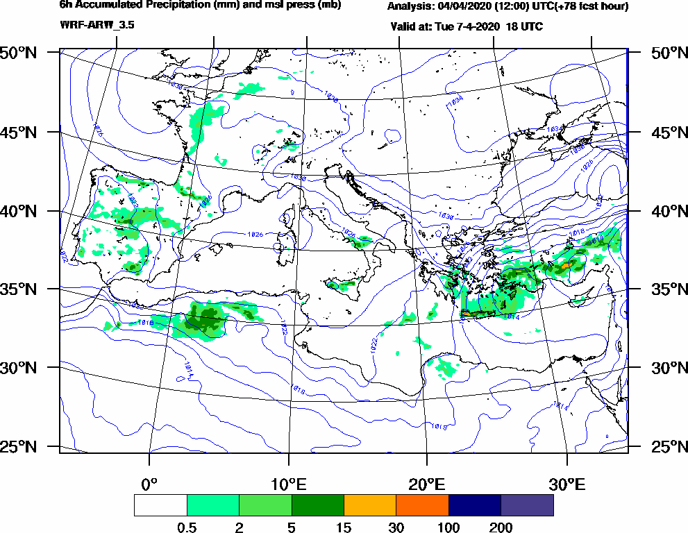 6h Accumulated Precipitation (mm) and msl press (mb) - 2020-04-07 12:00