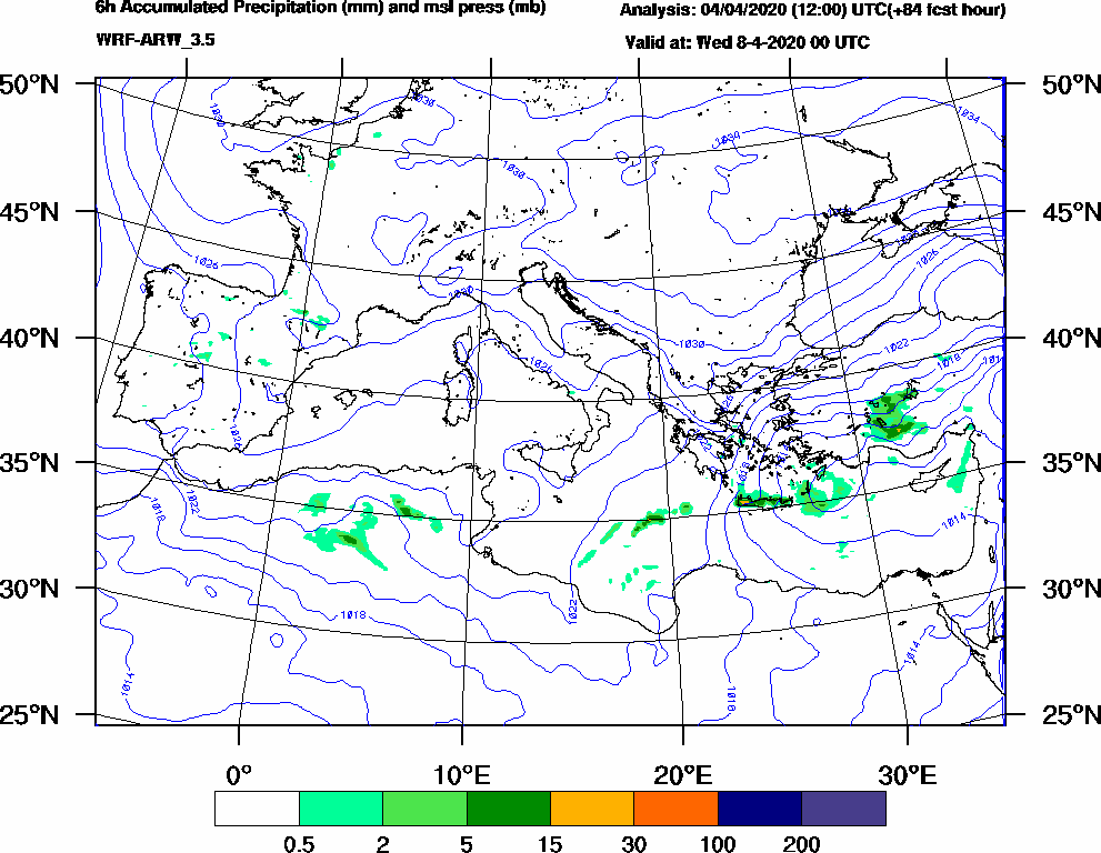 6h Accumulated Precipitation (mm) and msl press (mb) - 2020-04-07 18:00