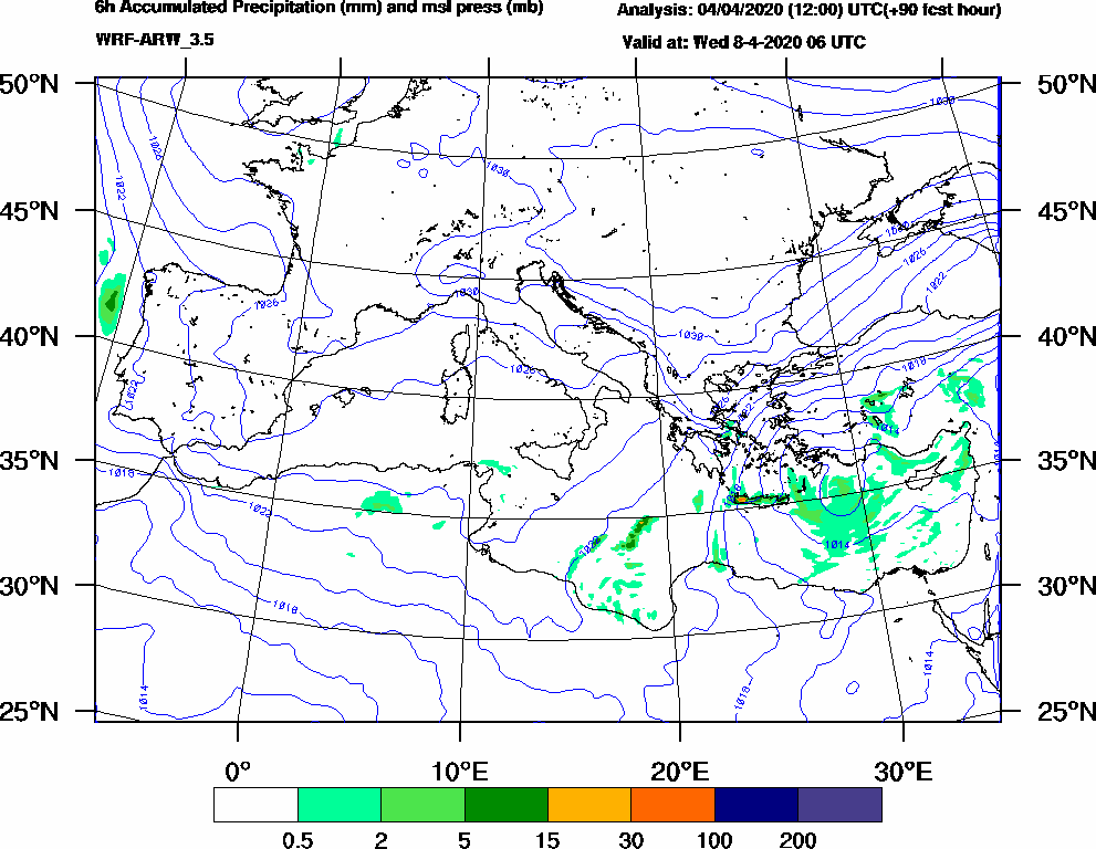 6h Accumulated Precipitation (mm) and msl press (mb) - 2020-04-08 00:00