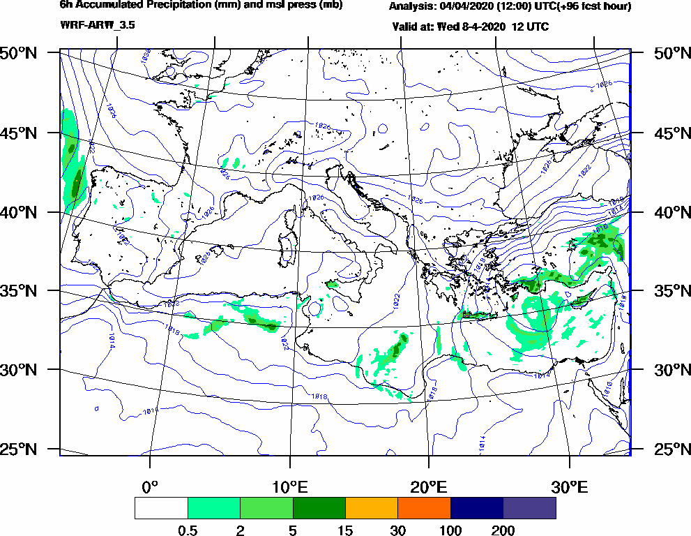 6h Accumulated Precipitation (mm) and msl press (mb) - 2020-04-08 06:00