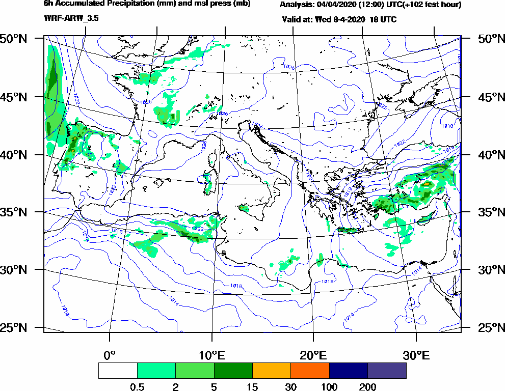 6h Accumulated Precipitation (mm) and msl press (mb) - 2020-04-08 12:00