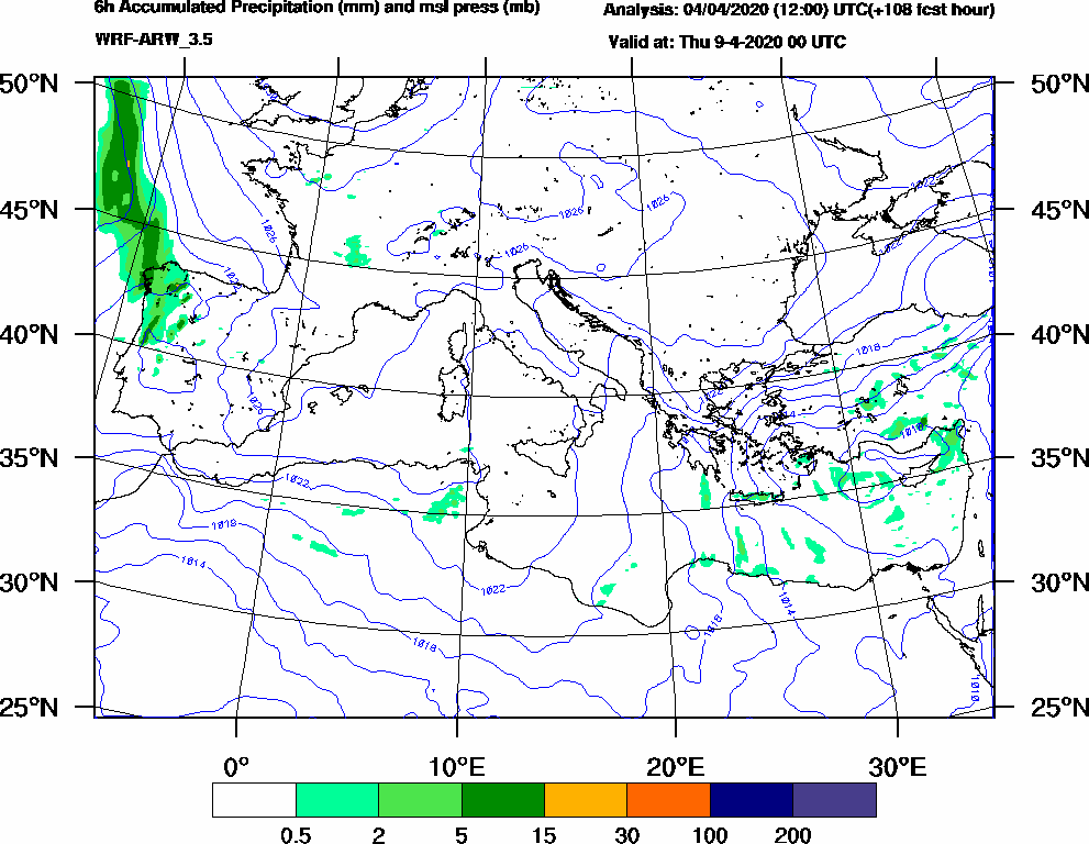 6h Accumulated Precipitation (mm) and msl press (mb) - 2020-04-08 18:00