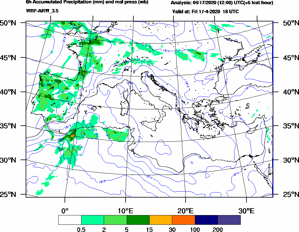 6h Accumulated Precipitation (mm) and msl press (mb) - 2020-04-17 12:00