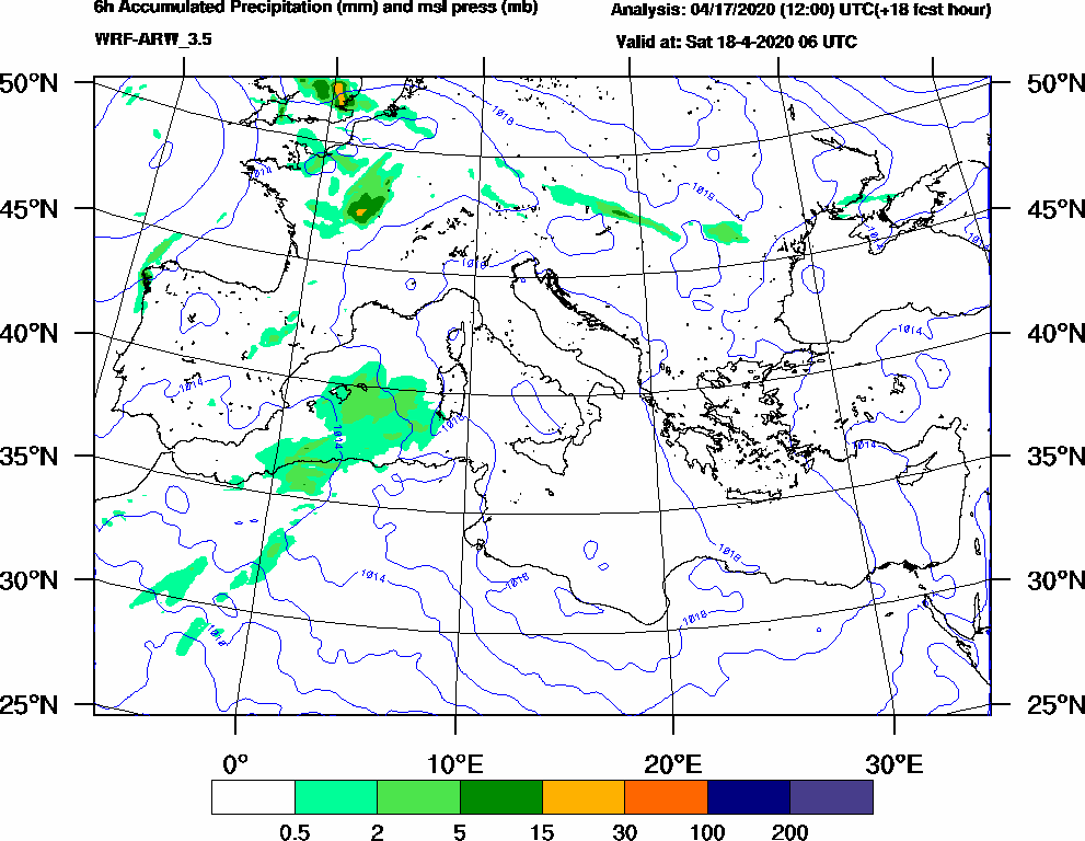 6h Accumulated Precipitation (mm) and msl press (mb) - 2020-04-18 00:00