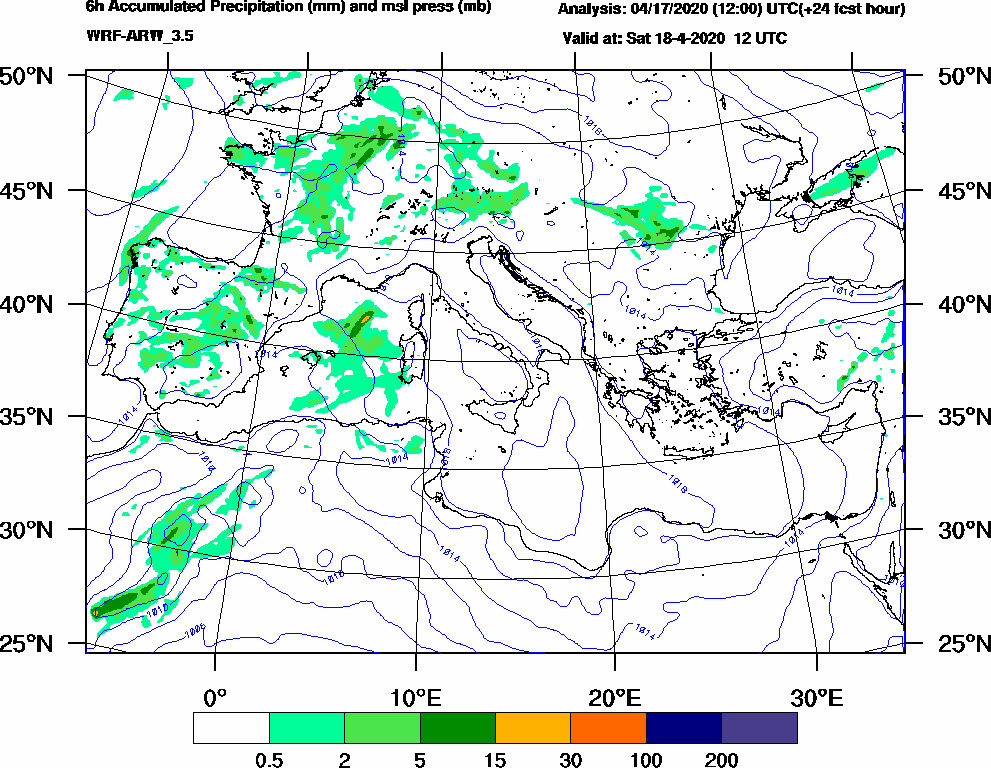 6h Accumulated Precipitation (mm) and msl press (mb) - 2020-04-18 06:00