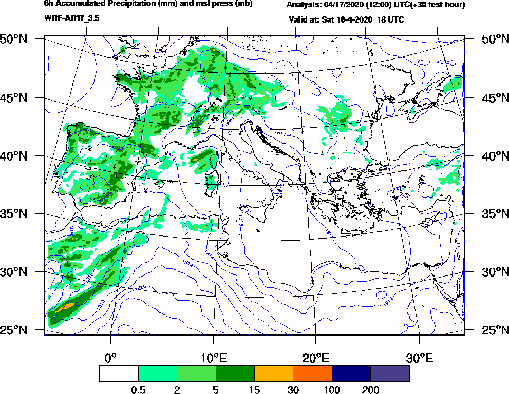 6h Accumulated Precipitation (mm) and msl press (mb) - 2020-04-18 12:00