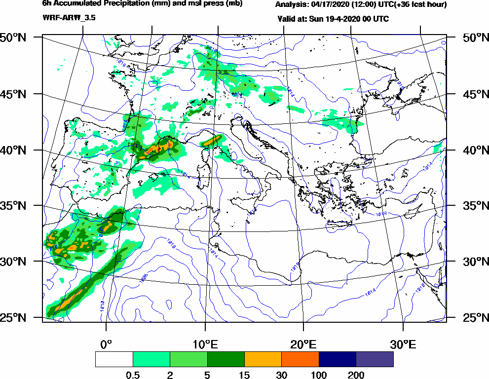 6h Accumulated Precipitation (mm) and msl press (mb) - 2020-04-18 18:00