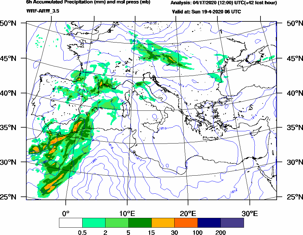 6h Accumulated Precipitation (mm) and msl press (mb) - 2020-04-19 00:00