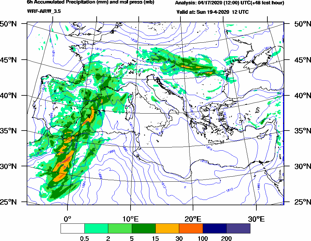 6h Accumulated Precipitation (mm) and msl press (mb) - 2020-04-19 06:00