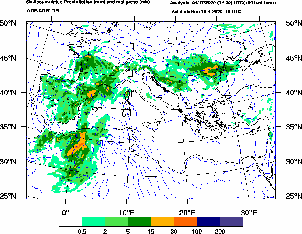 6h Accumulated Precipitation (mm) and msl press (mb) - 2020-04-19 12:00