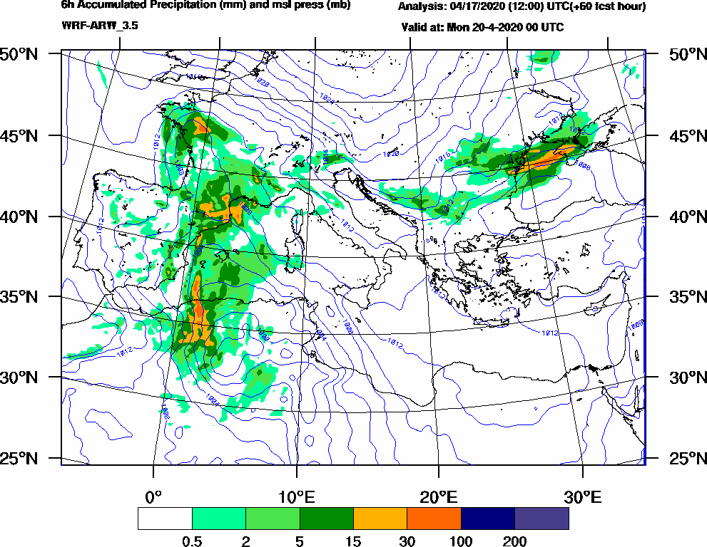 6h Accumulated Precipitation (mm) and msl press (mb) - 2020-04-19 18:00