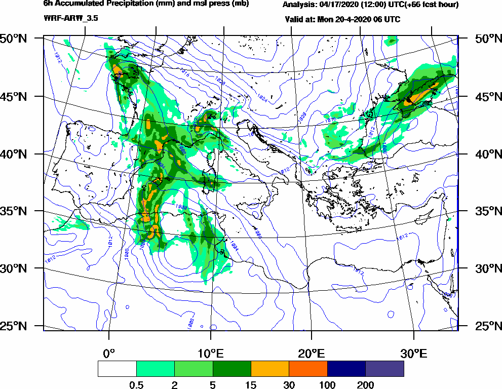 6h Accumulated Precipitation (mm) and msl press (mb) - 2020-04-20 00:00