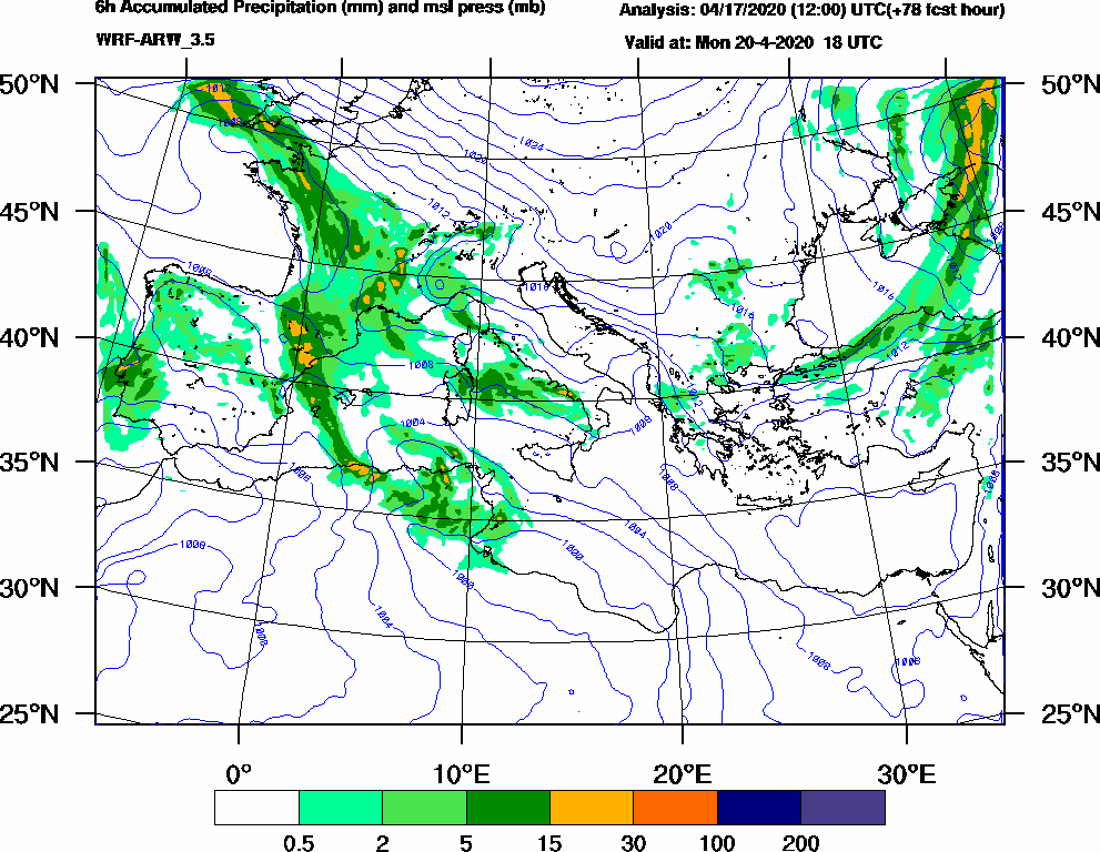 6h Accumulated Precipitation (mm) and msl press (mb) - 2020-04-20 12:00